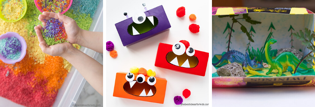 Tissue box monsters, dino habitat box, colourful rice and more!